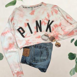 Victoria's Secret pink cropped tie dye sweater top
